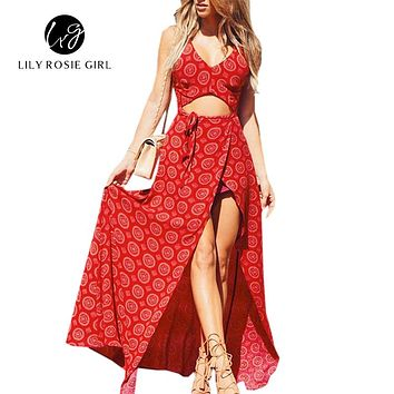 Summer Beach Style Boho Maxi Long Women Dress Red Print V Neck Bows Side Split Hollow Out Off Shoulder Vestidos