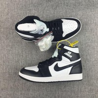 New Material 2017 AJ1 Nike Logo Black White Mens Shoes