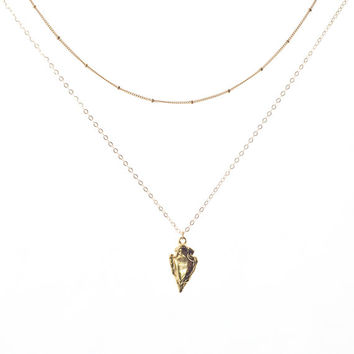 Gold Arrowhead Necklace, Arrowhead Pendant, Arrowhead Charm, Gold Layer Necklace, Gold Filled Satellite Chain, Arrowhead Layer