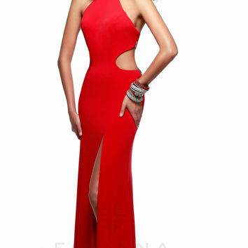 Long High Neck Open Back Gown by Faviana