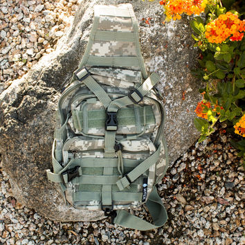 Tactical Military Sling Backpack in Digital Camo