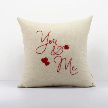 You & Me throw pillow,Valentine Gifts,wedding pillow,wedding Personalized Gift, Anniversary Gift, Accent custom pillow,Handmade embroidered