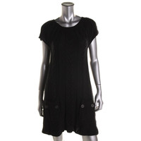 Style & Co. Womens Cable Knit Short Sleeves Sweaterdress