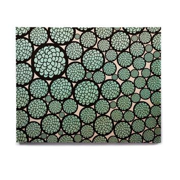 """Pom Graphic Design """"Blooming Trees"""" Turquoise Circles Birchwood Wall Art"""
