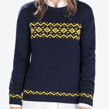 Cadet Blue Jacquard Printed Long Sleeve Pullover Sweater