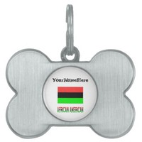 African Diaspora Flag and African American Name Pet Name Tag