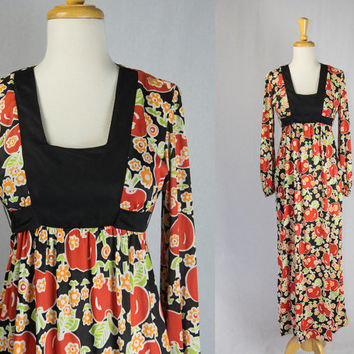 Adorable Vintage 70s Tomato Empire Dress Cutest Novelty Print Maxi