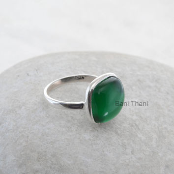 Green Emerald Quartz Ring Cushion 12mm- Sterling Silver Ring - Wholesale Ring - Gemstone Jewelry - Bezel Ring Jewelry - #1132