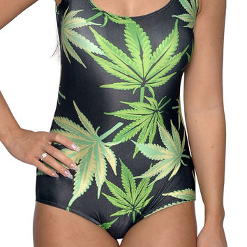 Cannabis One Piece Womens Swimsuit Size Medium