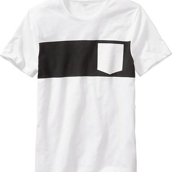Old Navy Mens Black & White Graphic Tee
