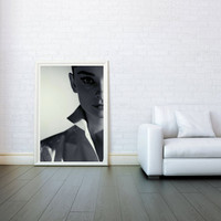 Audrey Hepburn The Face - Decorative Arts, Prints & Posters,Wall Art Print, Poster 16x23 Inch - Black and White Poster
