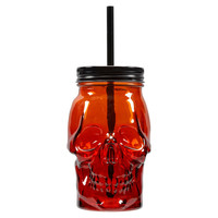 Red & Orange Skull Jar with Lid By Ashland®