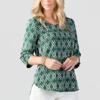 University Printed Blouse in Green