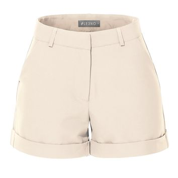 LE3NO Womens Classic High Waisted Short Pants with Rolled Cuff