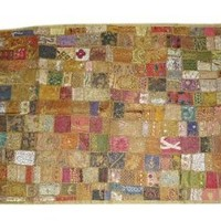 Amazon.com: Breathtaking Wall Hanging- Olive Green Vintage Patchwork Tapestry Throw Art Antique Decor India: Home & Kitchen