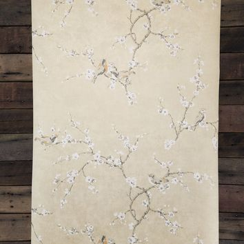 Birds and Blossoms on Shimmering Metallic Gold Wallpaper