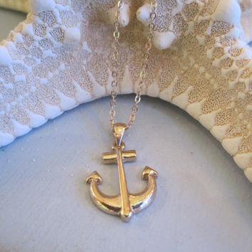 Classic Gold Anchor Necklace - Shiny Gold Anchor Necklace