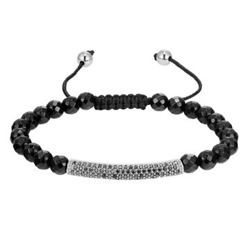 Designer Iced Out Bar Design Bracelet Black Bead ball Link New Braided