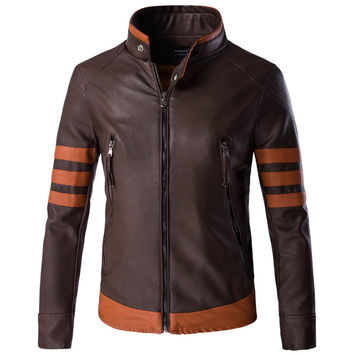 Brown Leather Jacket with Burnt Orange Trim