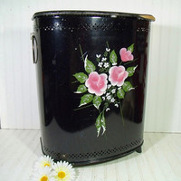 Vintage Hand Painted Pink Roses on Black Enamel Pierced Metal  OverSized Clothes Hamper - Vintage Original Floral ToleWare Large Laundry Bin