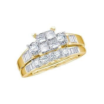 14kt Yellow Gold Women's Princess Diamond Bridal Wedding Engagement Ring Band Set 1.00 Cttw - FREE Shipping (US/CAN) - Size 5