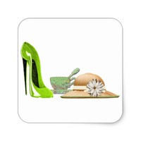 Lime Green Stiletto Shoe, Hat and Teacup Art Square Sticker