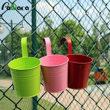 9 Colors Flower Hanging Pot Hook Wall Vertical Hang Bucket Iron Flower Tub Holder Plant Pots Balcony Garden Planter Home Decor