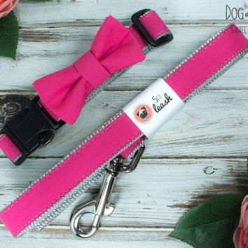 Hot Pink Dog Collar With Removable Bow Tie or Felt Flower