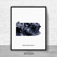 Pennsylvania Art Print Pennsylvania Decor Pennsylvania Print Pennsylvania Map Print Map Poster Office Poster Office Decor ArtPrintZone
