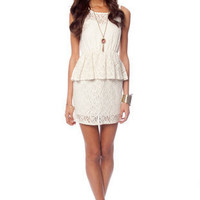 I Heart Peplum Lace Dress in Off White :: tobi