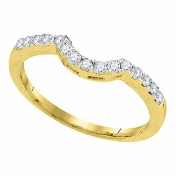 14kt Yellow Gold Women's Round Diamond Curved Wedding Band Ring 1/4 Cttw - FREE Shipping (US/CAN)