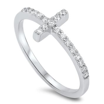 Choose Color Womens Sideway Cross Ring Rhodium Plated Sterling Sildeways Cross Ring CZ