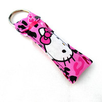 Neon Leopard Hello Kitty Chapstick Keychain - Hello Kitty Pink Neon Leopard Print Black Lip Balm Holder Cozy