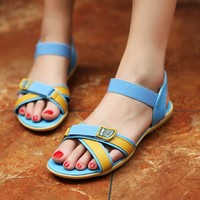 New Arrival Korea Cross Sport Letters Sandals Blue, Buy New Arrival Korea Cross Sport Letters Sandals Blue with cheapest price|wholesale-dress.net