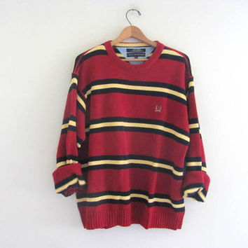 vintage boyfriend sweater. oversized preppy sweater. bill cosby sweater. red and yellow baggy sweater. men's size XL