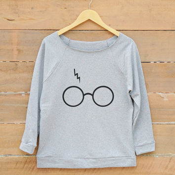 Glasses and lightning bolt tshirt funny tshirt movies shirt graphic sweatshirt women off shoulder sweatshirt slouchy jumper women sweatshirt