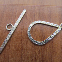 Sterling silver textured toggle clasp pear shape and lightweight