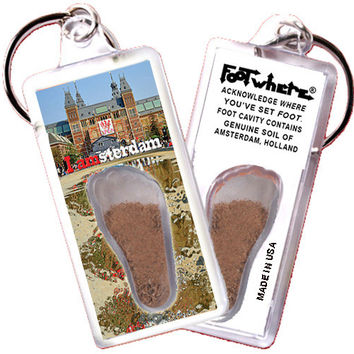 Amsterdam FootWhere® Souvenir Keychain. Made in USA