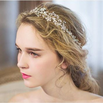LMFIJ6 Dower  me Shine Silver Rhinestone Bridal Hair Vine Jewelry Handmade Wedding Headband Accessories Women Headpiece