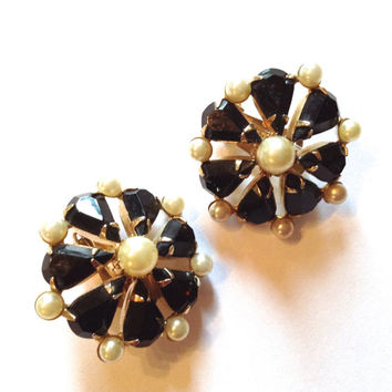 Vintage Hobe Black & White Rhinestone Earrings Fab Retro Holiday Party Jewelry