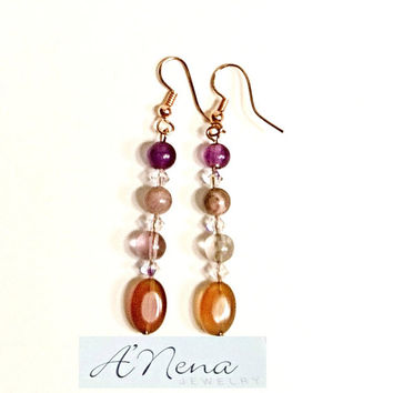 "Earrings: Copper Earwires and Head pins, Agate,  Rhodonite, Fluroite & Swarovski Elements ""Elegance""   By ANena Jewelry"