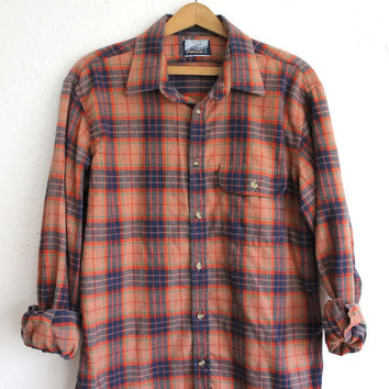 ON SALE Vintage 80s Men's Peach Orange Blue Plaid Flannel Shirt // Cotton Button Up L