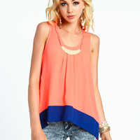 Color Block Top with Necklace