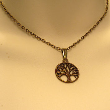 Tree of Life Choker Necklace 15 1/2 Inch (39.4 cm) Choker Length Necklace