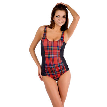 Red Plaid Print One Piece Swimsuit