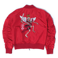 Misunderstood Red Embroidery Bomber Jacket - 1 Left!