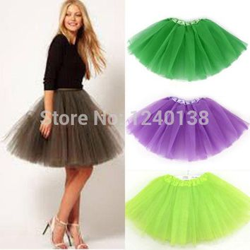 Pretty Women Girl Elastic Stretchy Tulle Adult Tutu 3 Layer mini Tutu Skirt
