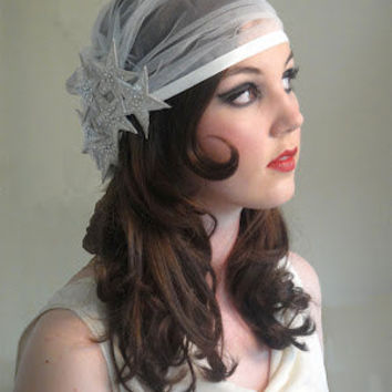 Stella Cap Veil - 1920s Juliet cap style Ivory Tulle Bridal Veil/ Headpiece with silver Star trim embellished with Swarovski crystal