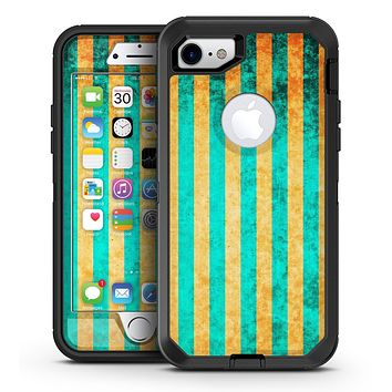 Teal Green Vertical Stripes of Gold - iPhone 7 or 7 Plus OtterBox Defender Case Skin Decal Kit