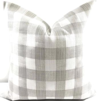 French Grey Buffalo Plaid Print Pillow Cover